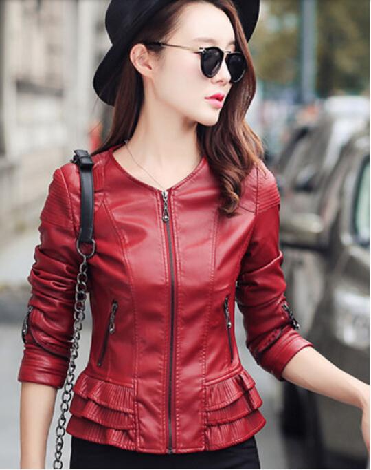 2016 new Europe women leather jacket motorcycle Ms. Slim leather jacket short paragraph small coat female