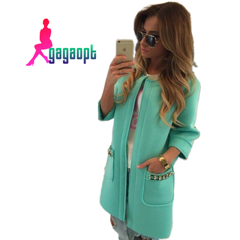 Gagaopt 2015 Spring Coat Solid Long Open Stitch Trench Coat for Women Fashion Gabardina Mujer Trench 001