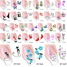 Fashion Water Transfer Nail Art Decals Stickers Cartoon Cat Flower Lips Nail Sticker Decorations DIY Tips for Nails(China (Mainland))