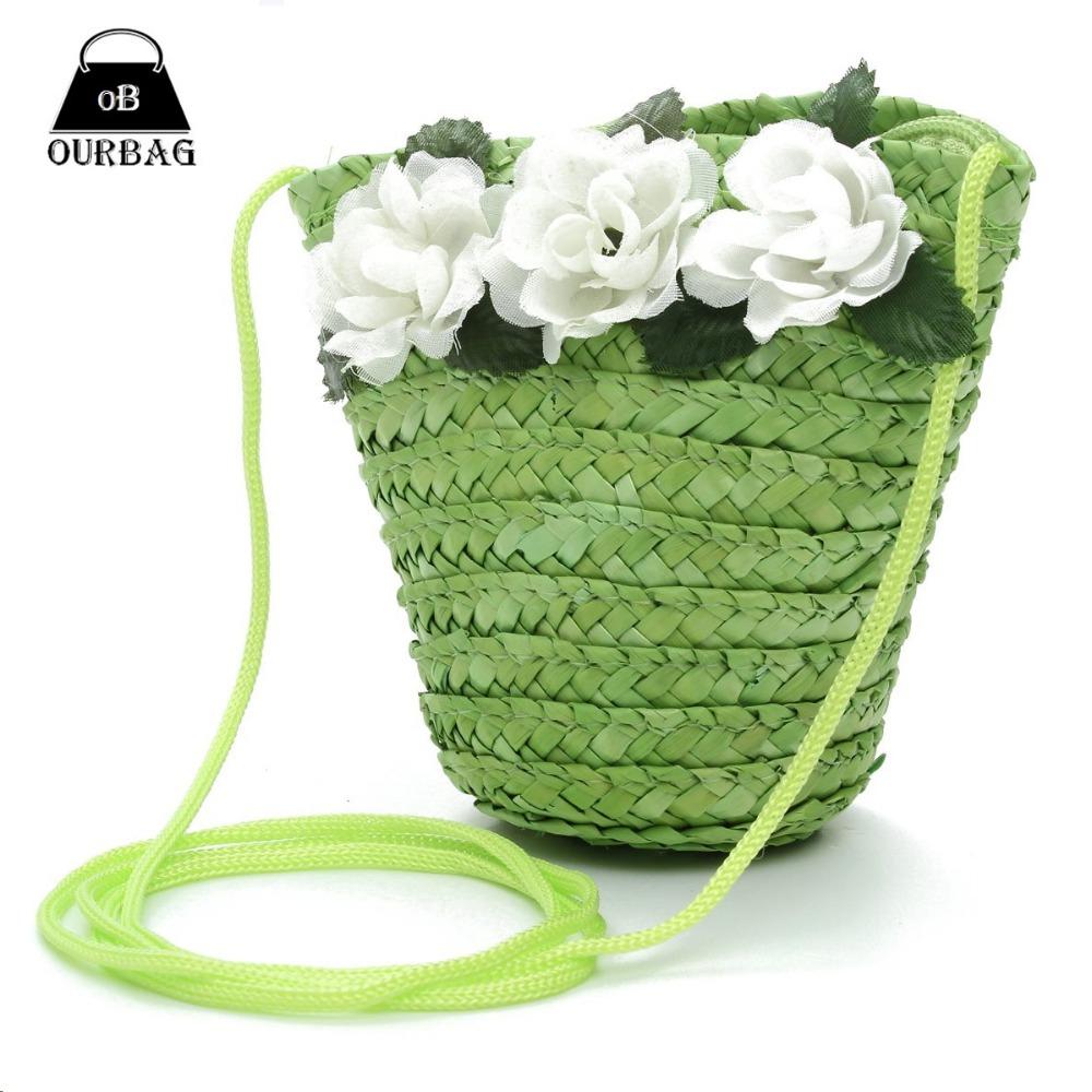 Новый женщины Kid портмоне соломы пляжные сумки небольшое изменение цветочные мода сумки милый цветок кошельки кроссбоди multi-цветы