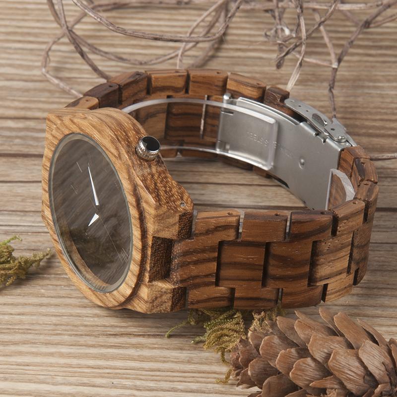 Zebra Wood Strap Wristwatch Wooden Strap Quartz Watches Gifts relogio masculino C-M30 (5)