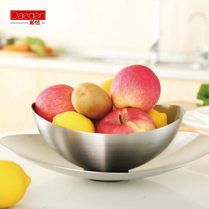 Free shipping Easy home tableware fruit plate stainless steel capade compotier twinset set(China (Mainland))