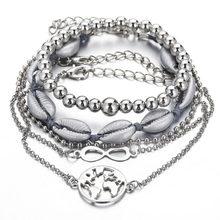 Bohemian Bracelets & Bangles Set Shell Map Heart Female Alloy Geometry Vintage Multilayer Charm Bracelet for Women Jewelry(China)