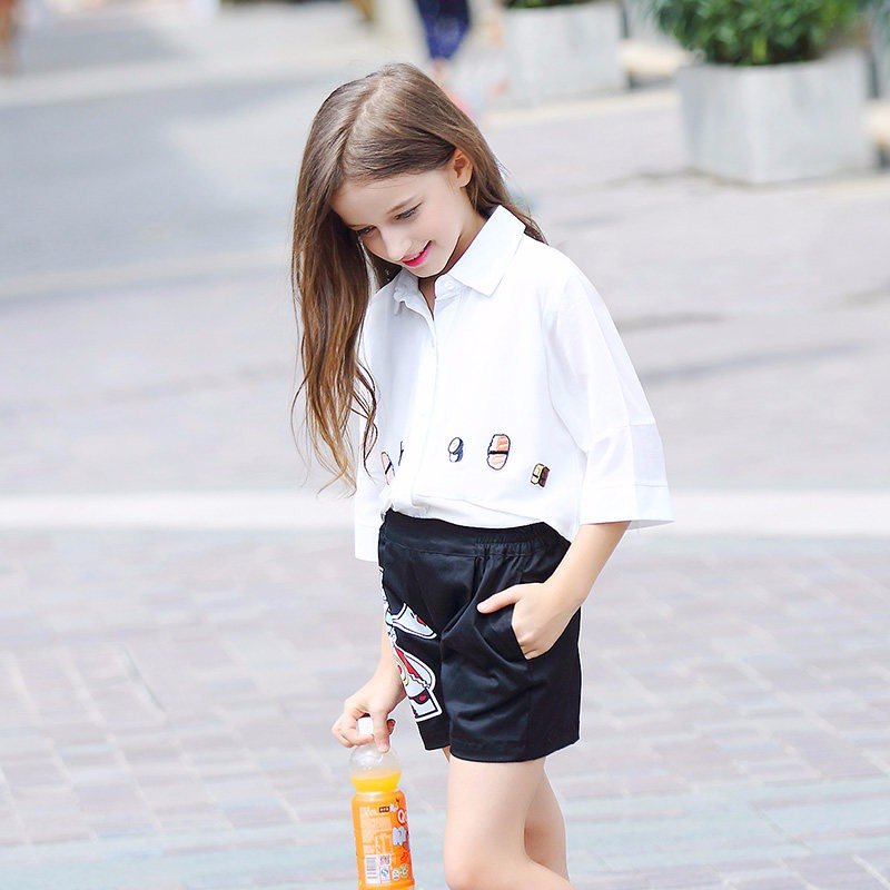 2016 Kid Girls Two pcs Outfit School Uniform Cartoon Characters Clothing Set For Teens Age 5 6 7 8 9 10 11 12 13 14T Years Old