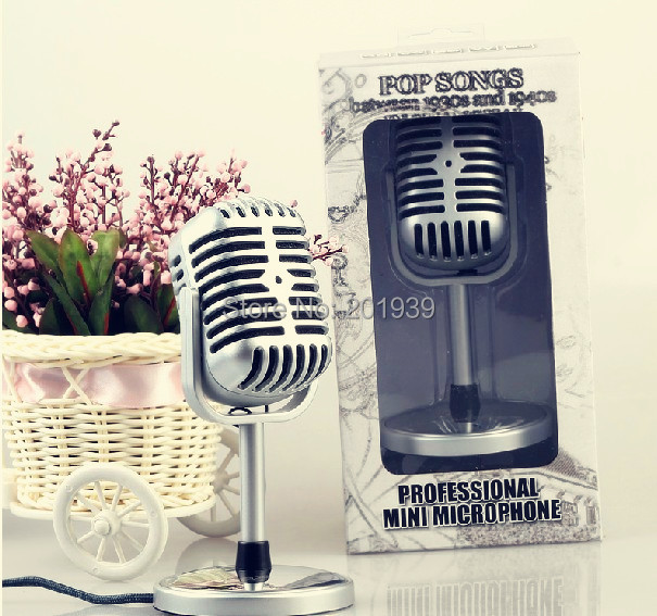 Free shipping Microphone Stereo Laptop Retro Classic Computer Microphone Vintage Microphone Personalized Wholesale 50 pcs/lot(China (Mainland))