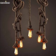 2015 Retro Vintage Rope Pendant Light Lamp Loft Creative Personality Industrial Lamp Edison Bulb American Style For Living Room(China (Mainland))