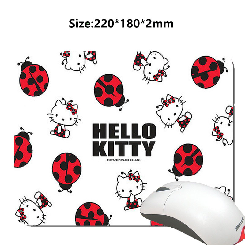 Funny Hello Kitty Cartoon Mouse Mat Custom High Quality Non-slip and Durable Computer and Laptop Mouse Pad(China (Mainland))