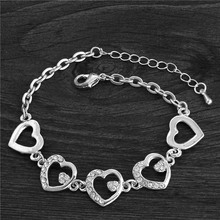 New Summer Style Romantic Heart Bracelet Femme Silver Plated Women Wedding Crystal Bracelets Pulseras Fine Jewelry(China (Mainland))
