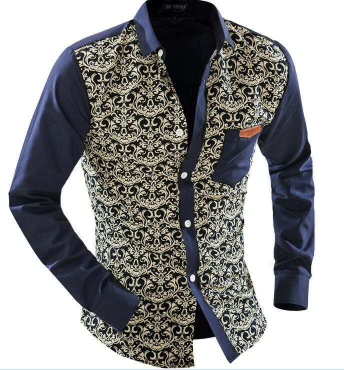 2015 Men'S Fashion Men Shirt Floral Blue And White Long-Sleeved Leisure Slim Square Collar Long-Sleeved Shirt Single-BreastedXXL