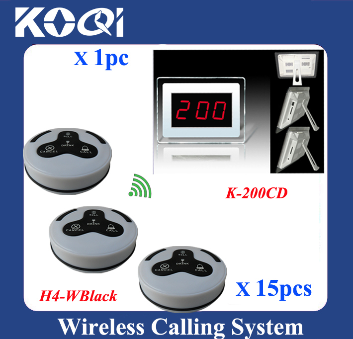 K-200CD LED Display Wireless Table Waiter Paging System w 15 Call Buttons Waterproof(China (Mainland))
