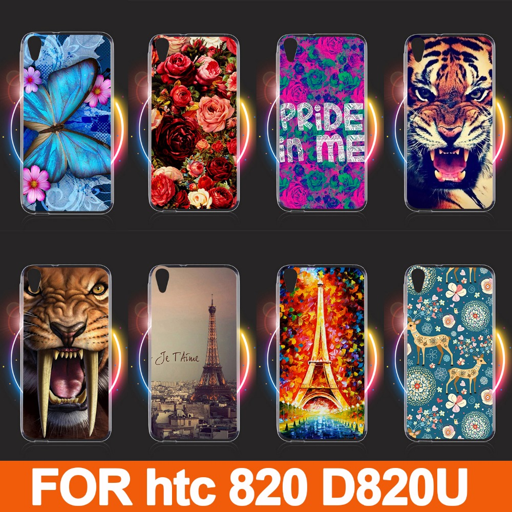 hot 14 patterns painting colored tiger lion cat animals rose flowers eiffel towers case cover For HTC 820 D820 D820U D820T(China (Mainland))