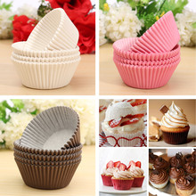 100pcs Cake Cupcake Liner Case Wrapper Muffin Dessert Baking Cup Wedding Party White Rose Red Brown(China (Mainland))