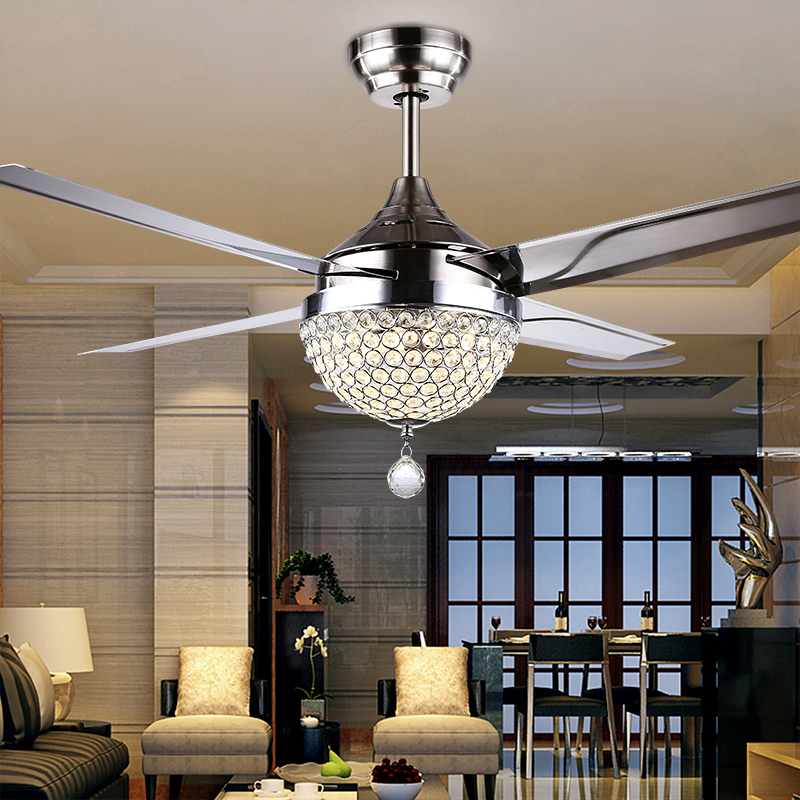 gale crystal light led ceiling light restaurant bedroom modern minimalist fashion fan fan. Black Bedroom Furniture Sets. Home Design Ideas