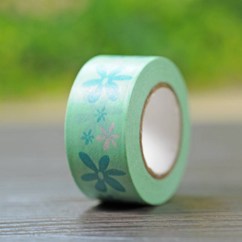 New 1x green colored flower floral patterned japanese washi tape decorative m - Decoration masking tape ...