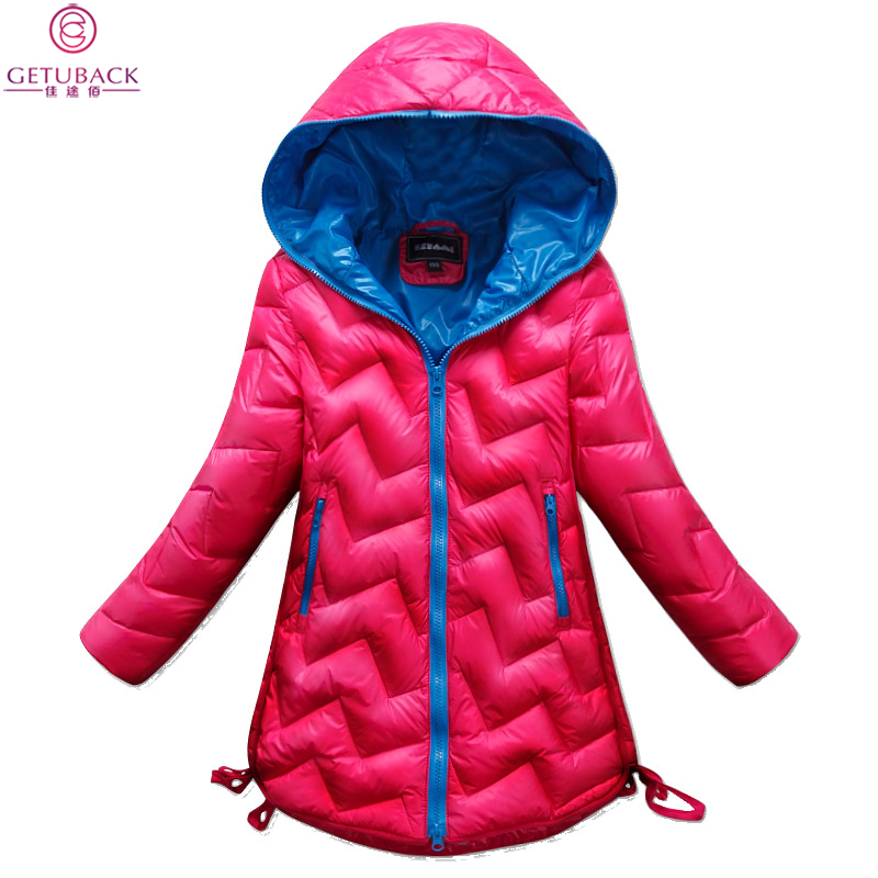 2015 Girls Winter Solid Hooded Coats Kids Fashion Brand Plaid Jackets Children Warm Long Clothes , LC400