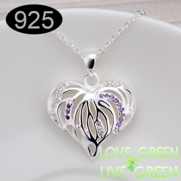 Free shipping 925 silver heart-shaped pendant manufacturers wholesale jewelry chain necklace new fashion accessories 461(China (Mainland))