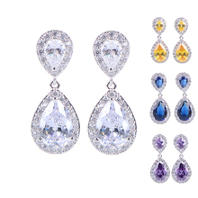 2015 Nickle Free Women New Fashion Classic Style Water Drop Crystal Drop Bridal Earrings with Cubic Zircon Diamond Earings(China (Mainland))