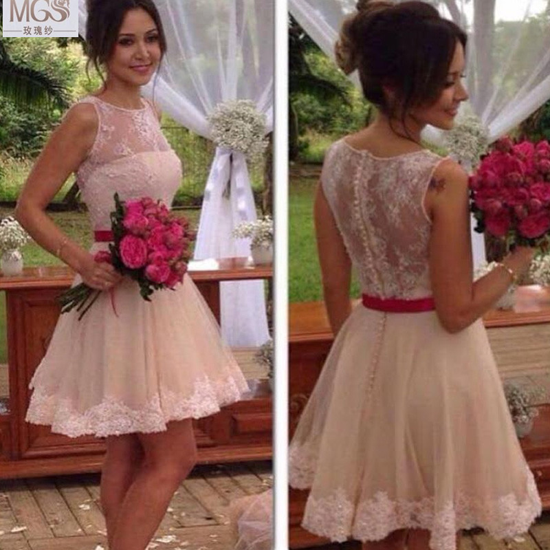 Hot High Quality Beautiful 2016 MGS A-Line Scoop Knee-Length Off the Shoulder Appliqued Bridesmaid Dresses Wedding Party Gown(China (Mainland))