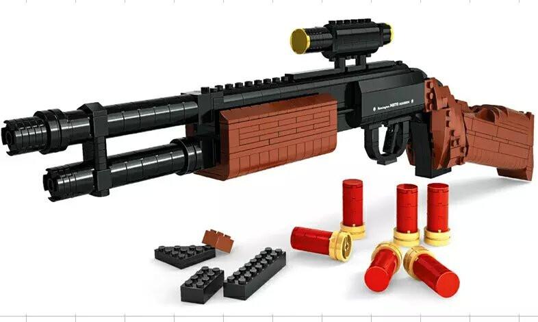 Compatible Legoe AusiniM870 Building Block Modular Combat Shotgun GUN Toy For Children Weapon Arms Model 1:1 3D 527pcs Brick Set(China (Mainland))