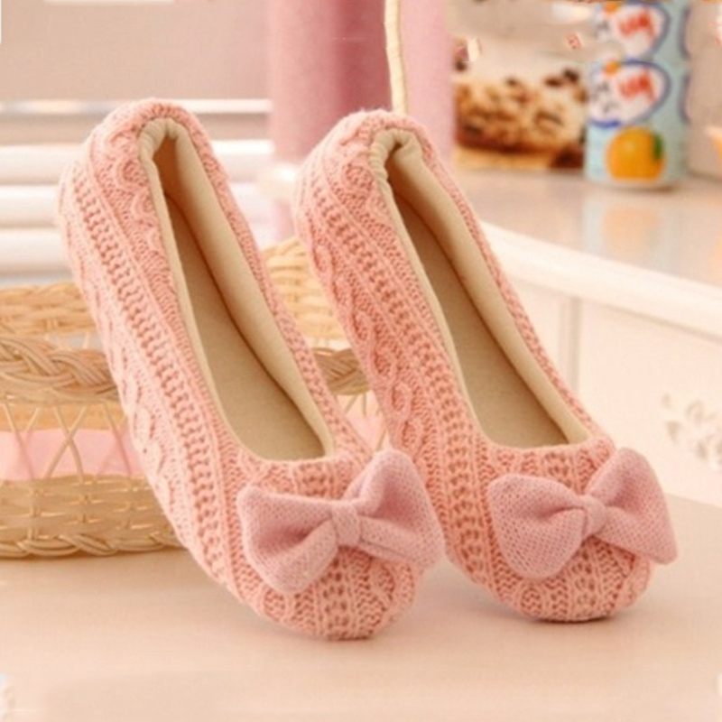 Lovely Lady Home Floor Soft Women Slippers Outsole Cotton-Padded Bow Shoes Female Cashmere Warm Casual Shoes Size 37-39(China (Mainland))