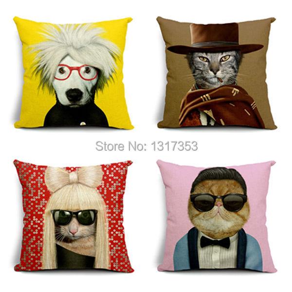 Super Star Cat Dog Decorative Pillowcase 45x45 Linen Cotton Cojin Ikea Sofa Cushion Cover Home Decore Throw Pillow Case Almofada(China (Mainland))