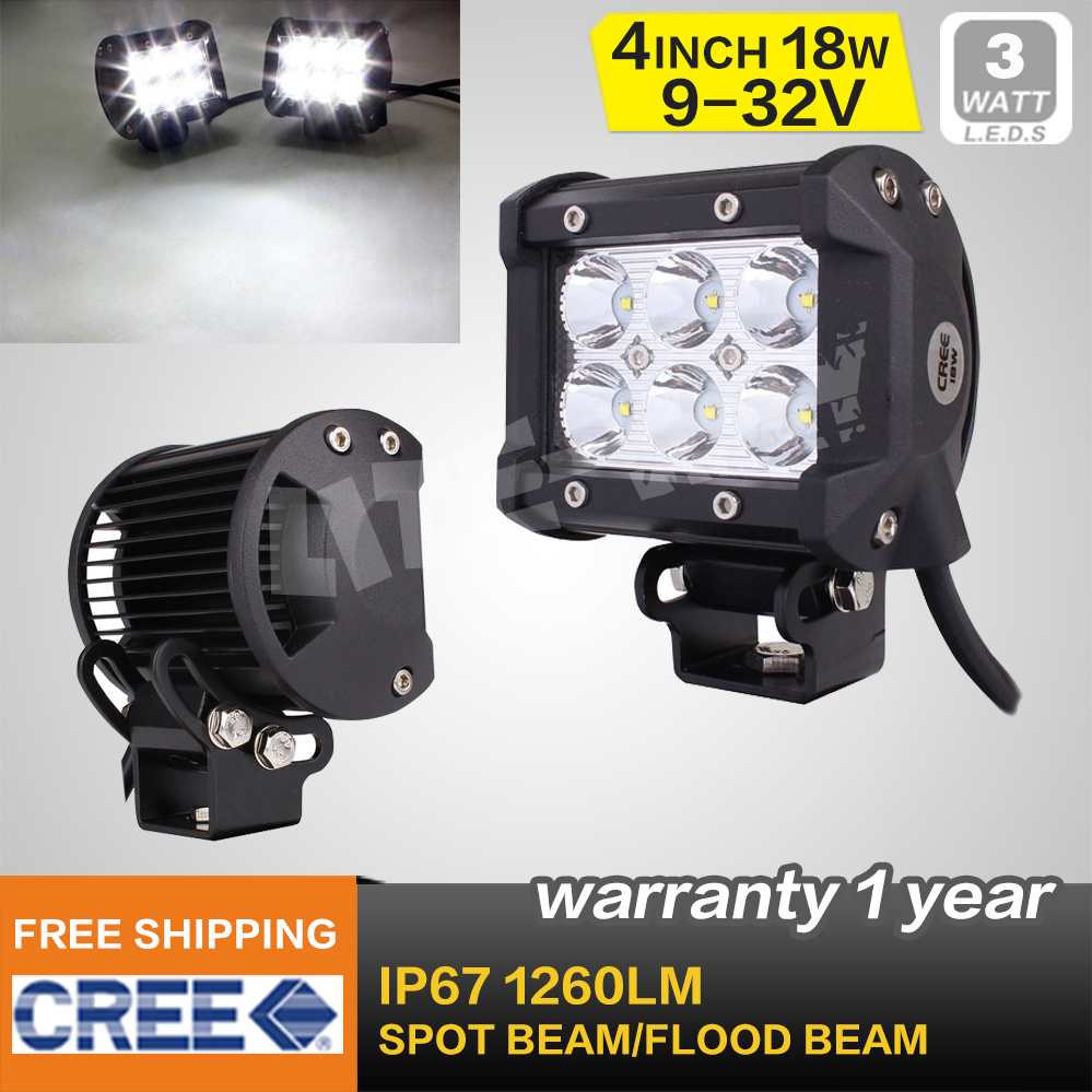 4 INCH 18W CREE FOG LIGHT FOR MOTORCYCLES SPOT FLOOD BEAM OFFROAD WORK LIGHT BAR FOR TRACTOR BOAT MILITARY EQUIPMENT LED LIGHT(China (Mainland))