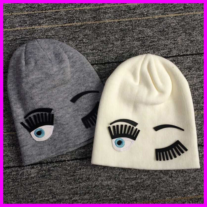 Women Winter Wool Knitted Beanies Caps 2015 Fashion Autumn Big Eye And Eyelash Hip Hop Hats For Women(China (Mainland))