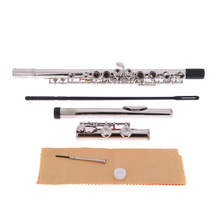 16 Holes C Key Flute Western Concert Silver Plated Cupronickel Woodwind Instrument with Cleaning Cloth Stick Gloves Screwdriver(China (Mainland))