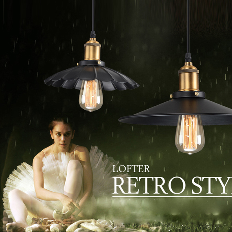 Modern Edision Bulb Pendant Lights Vintage Industrial Black Lampshade Pendant Lamp Loft Luminaire Hanging Lamp Retro Home Decor<br><br>Aliexpress
