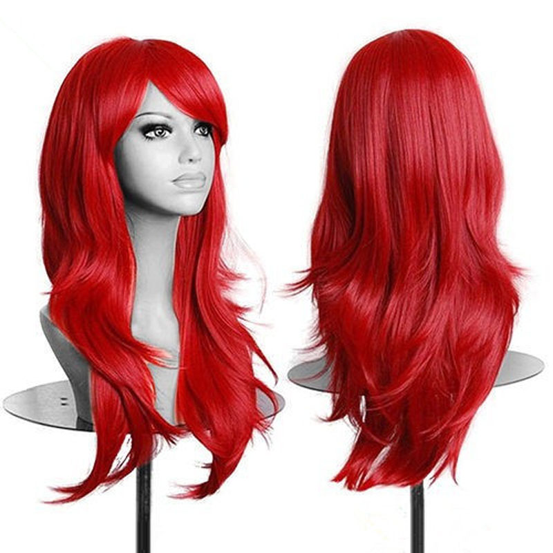 Fashion High Quality Red Long Wavy Women Wig Synthetic Lolita Cosplay Wig Free Shipping<br><br>Aliexpress