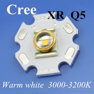 5pcs/Lot Free Shipping 3W LED High Power CREE XR LED Q5 Lamp Beads Light Warm White 20mm PCB LED Car Light 3.3-3.5v(China (Mainland))