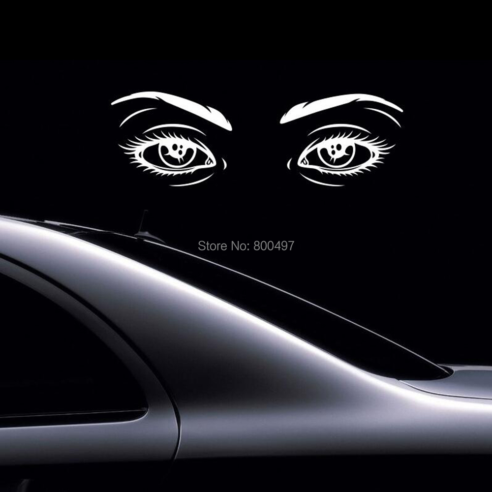 Car decal designer online - 10 X New Arrivals Funny Design Car Decoration Sexy Girl Eyes Reflective Silver Black Stickers Car