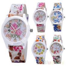 As mulheres se vestem relógios de luxo da banda Silicone flor impresso geléia analógico de quartzo relógios desportivos 1GVC