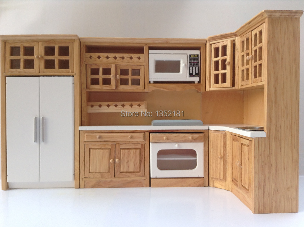 1 12 cute dollhouse miniature integral kitchen furniture for Kitchen set simple