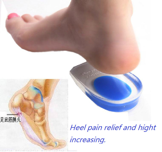 Soft 10pairs Silicone gel pads for relief heel pain and Spur Silicon cushion adhesive heels cup protector price free shipping(China (Mainland))