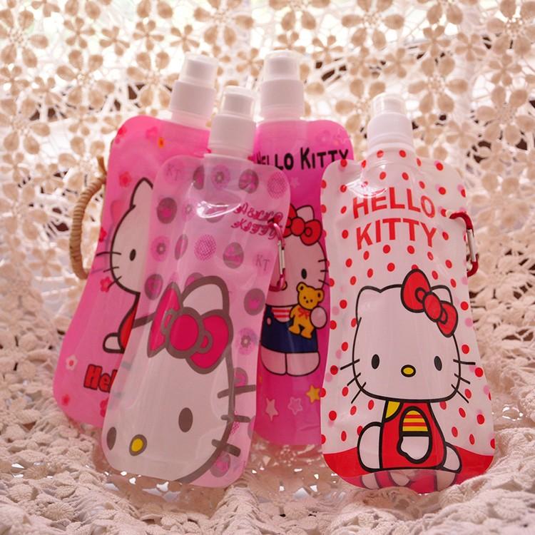 Cartoon Folding Water Bottle Hello Kitty Plastic Folding