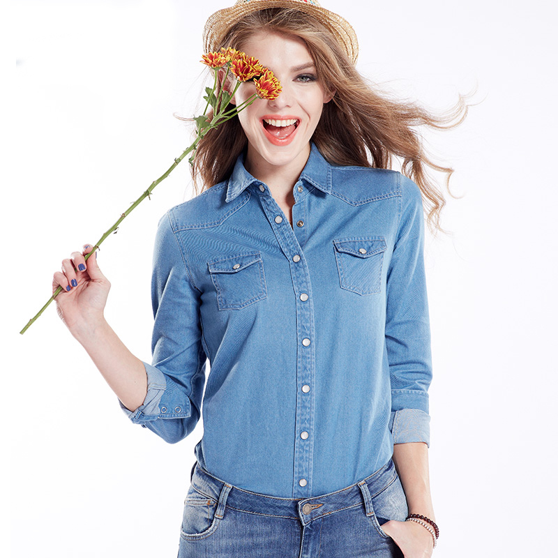 Women's 2015 Spring New Shirts Blouses Women Female Plus Size Blue Cotton Denim Shirt Blouse For Woman Clothing Blusas Femininas(China (Mainland))