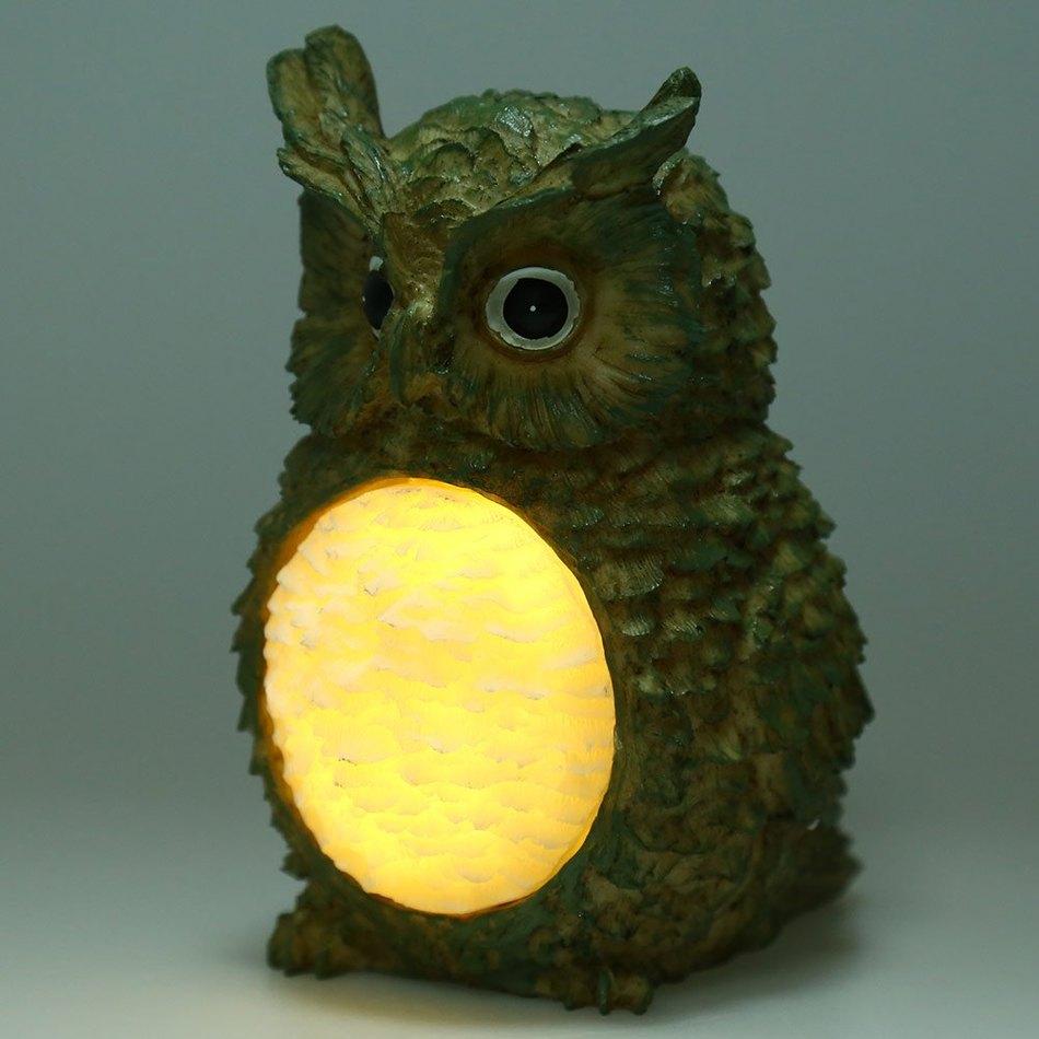 Cute Cyan Owl Animal LED Lawn Lamp 0.06W 2 LEDs 50LM Creative Solar Power Resin Owl Garden Yard Decorative Energy-saving Light(China (Mainland))