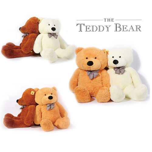 140CM Big Teddy Bear Hot Sale! White Brown and Light Brown Plush Stuffed Bear for Birthday,Christmas and Valentine's Day(China (Mainland))