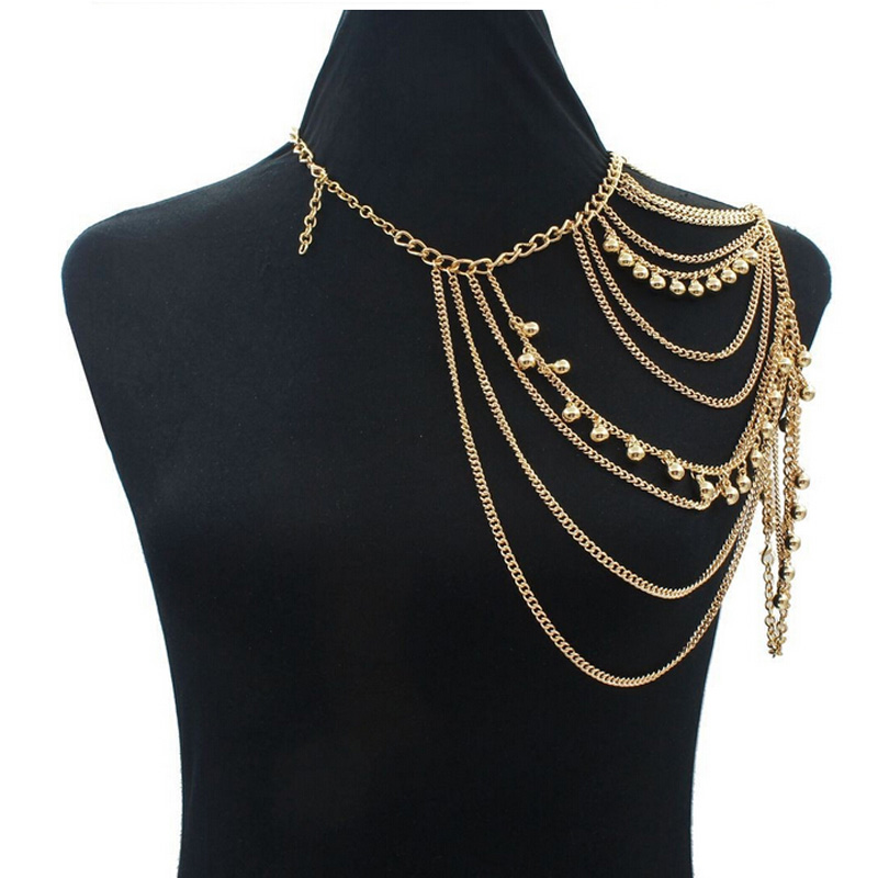 Gold Sexy Shoulder Body Chain Necklace Women Multi Layered Body Accessories Shoulders Fashion Jewelry 2015 Wholesale(China (Mainland))