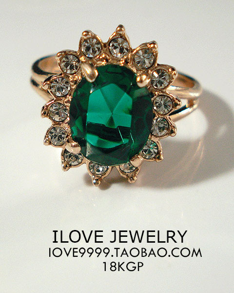 Genuine emerald Austrian crystal gold-plated luxury engagement wedding ring opening ring, 3pics/lot