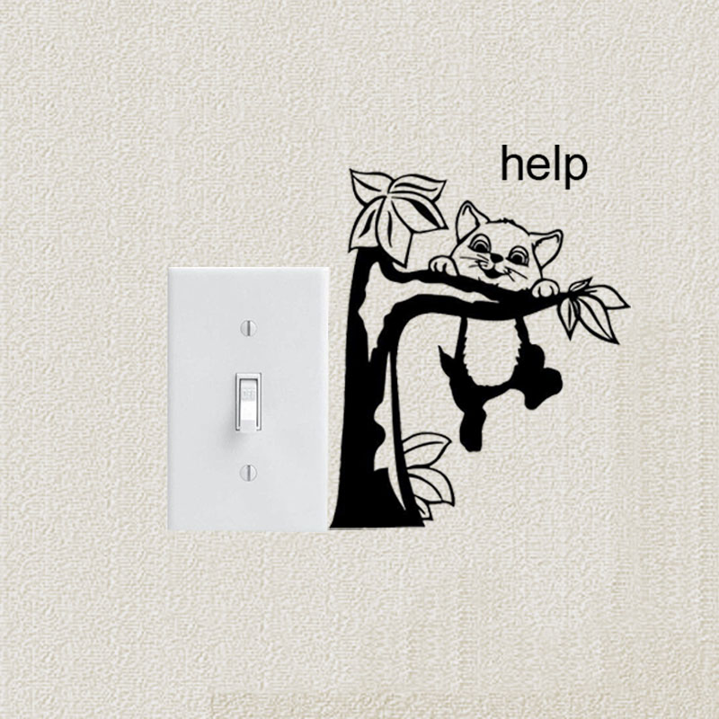Wall Stickers Vinyl Switch Decal Tree Cat Animal Pet Funny Decor Art A3455(China (Mainland))