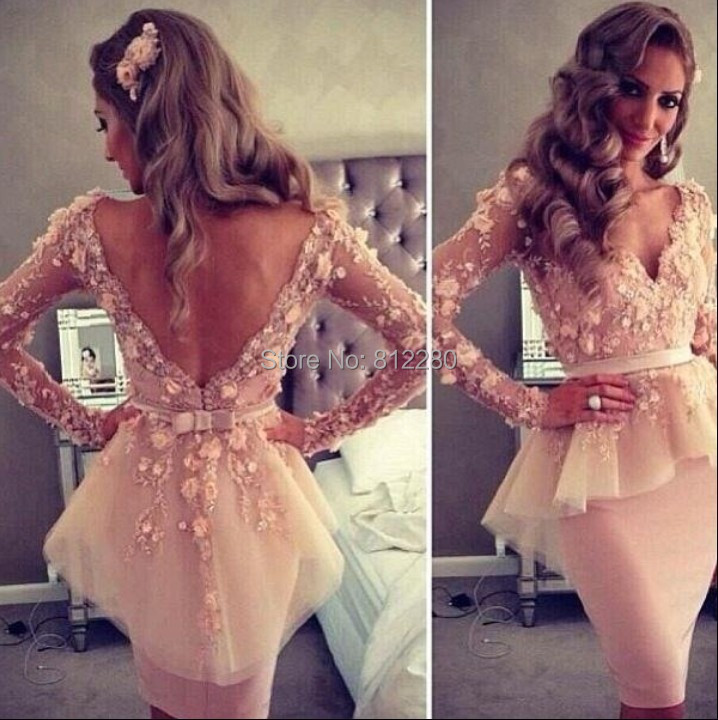 2014 Free-shipping-Drop-shipping-Celebrity-dress-Myriam-fares-Sheath-Knee-length-Long-sleeve-Bead-Appliqes-Custome - Yalante Official Fashion Store store