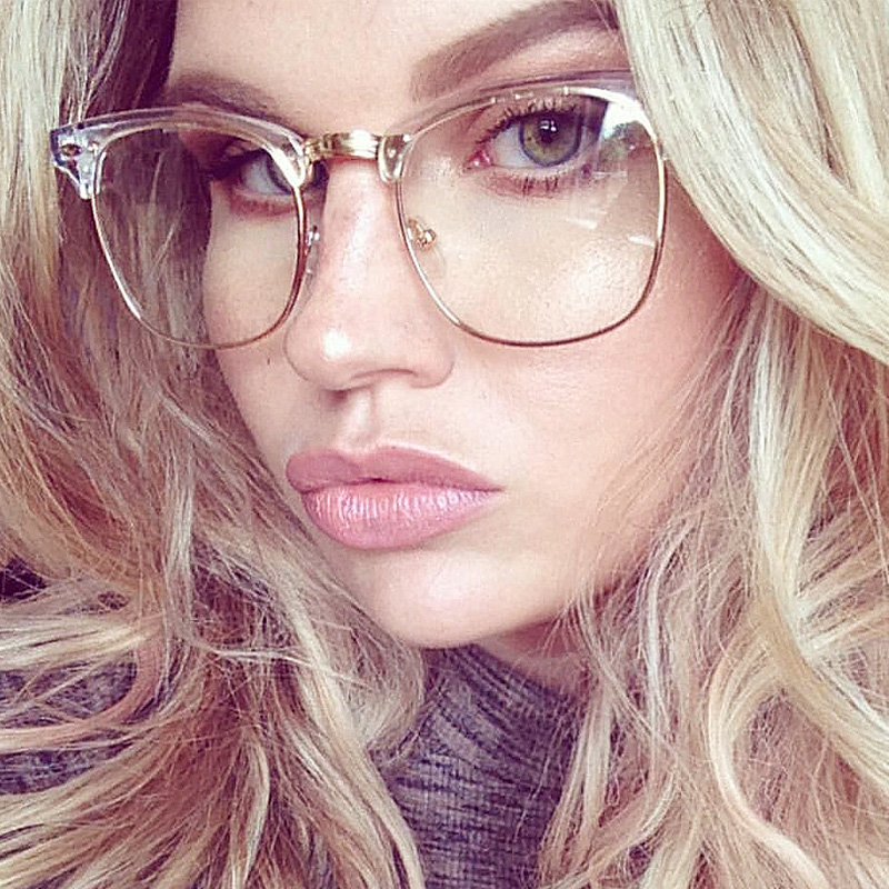 half frame clear glasses myopia clear frame glasses women men spectacle frame gold clear lens optical