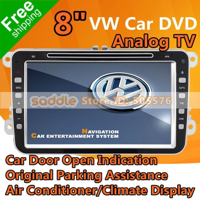 "8"" VW Car DVD Player For VW & Skoda with GPS + Car Door Open Indication + Parking Assistance + Air Conditioner + Climate Display"