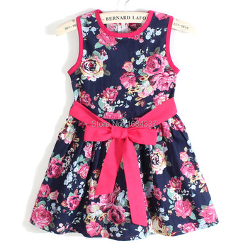 summer dress 2014 girl dress new free shipping for 3-11 age bow floral Girls Princess Party Bow Kids Formal Dress 23