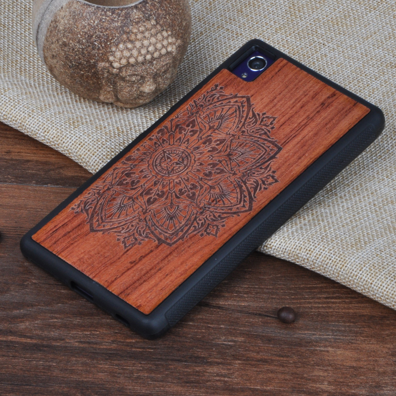 Handmade Wood Case For Sony Xperia Z5 Bamboo Back Battery Cover PC Shell Skull Pattern Housing Replacement Spare Parts For Gift(China (Mainland))