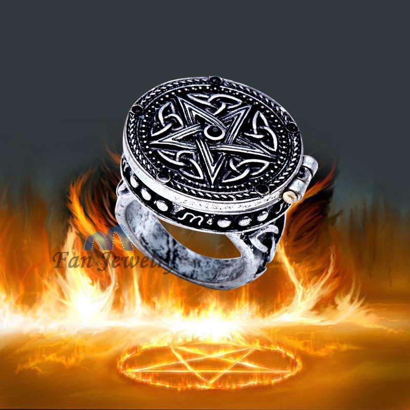 vintage jewelry Supernatural Dean Sam Pentacle Tattoo box ring DMV597(China (Mainland))
