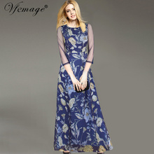 Vfemage Womens Elegant Vintage Flower Floral Print See Through Mesh Casual Charming Party Ball Gown Long Maxi Dress 2519(China (Mainland))
