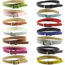 Factory Price Sweetness Womens Faux Leather Belts Candy Color Thin Skinny Waistband Adjustable Belt